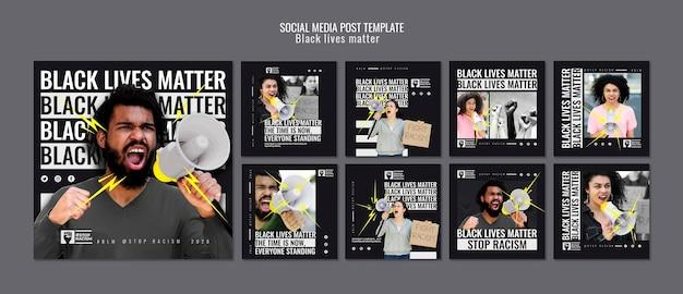 Zwarte levens zijn van belang na het posten van sociale media Gratis Psd