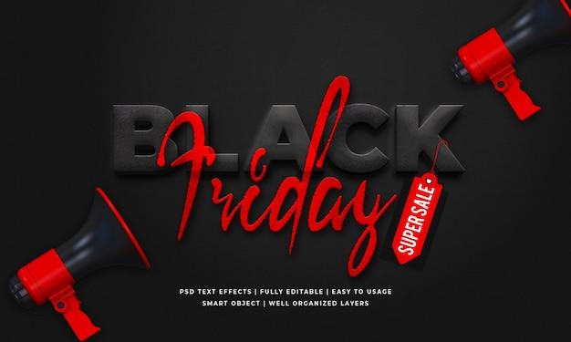Zwarte vrijdag 3d tekst stijl effect sjabloon Premium Psd