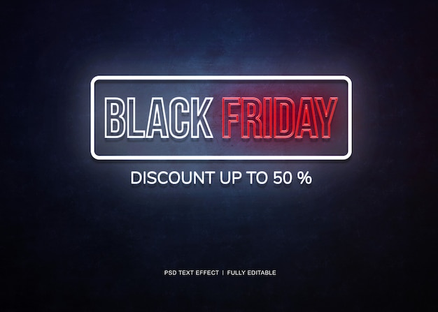 Zwarte vrijdag banner neon teksteffect Premium Psd
