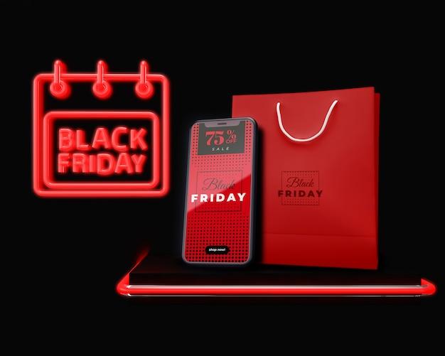Zwarte vrijdag campaing reclame elektronisch apparaat te koop Gratis Psd