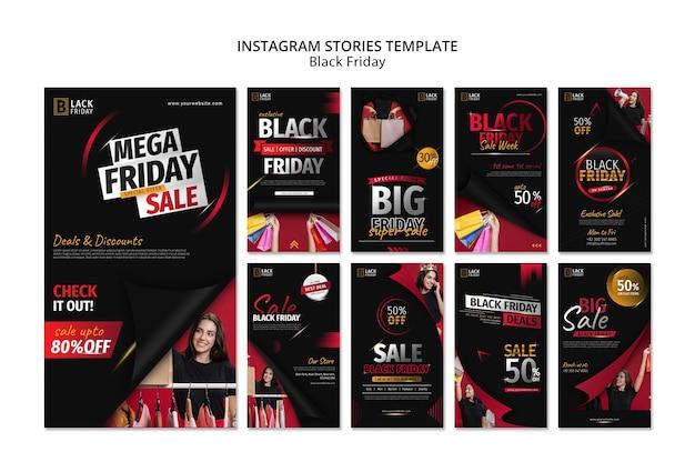 Zwarte vrijdag concept instagram verhalen sjabloon Premium Psd