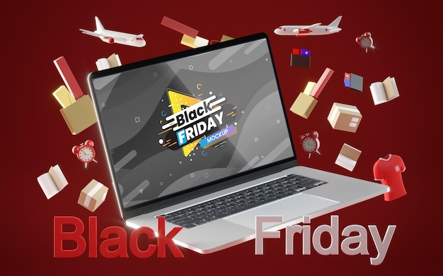 Zwarte vrijdag digitale verkoop op rode achtergrond Gratis Psd