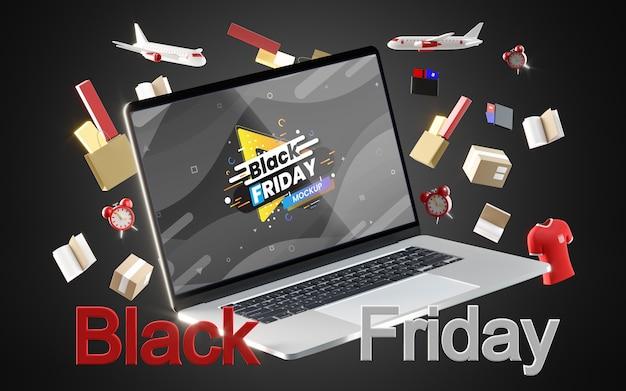 Zwarte vrijdag digitale verkoop op zwarte achtergrond Gratis Psd
