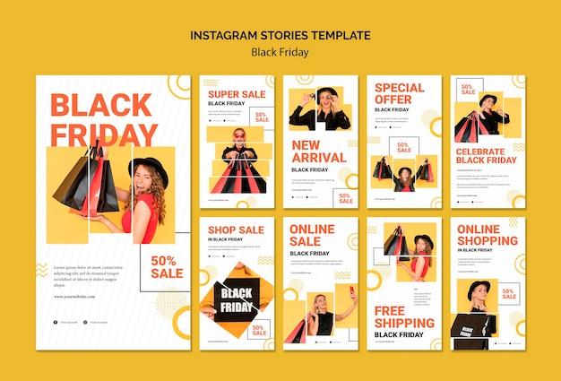 Zwarte vrijdag instagram verhalen sjabloon Premium Psd