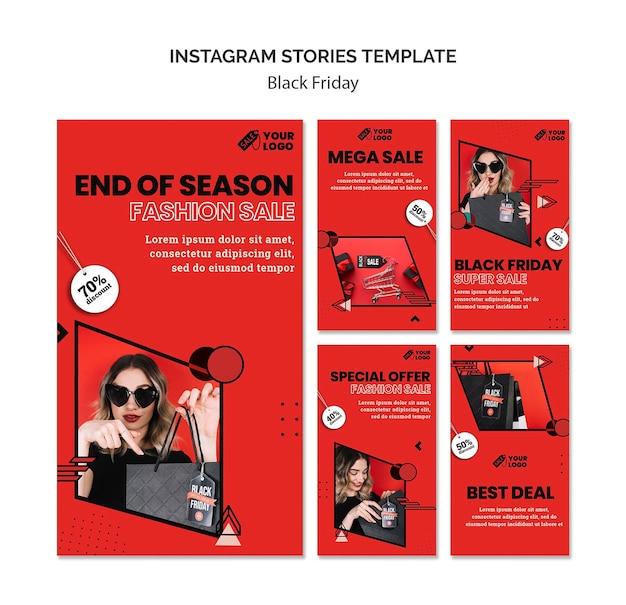 Zwarte vrijdag instagramverhalen Premium Psd