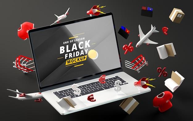 Zwarte vrijdag kortingsartikelen mock-up zwarte achtergrond Gratis Psd