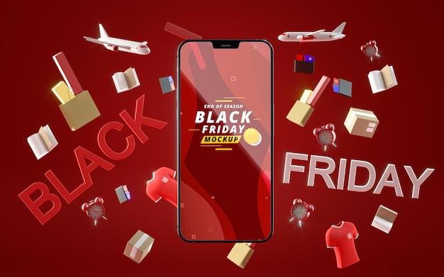 Zwarte vrijdag mobiel in verkoop mock-up rode achtergrond Gratis Psd