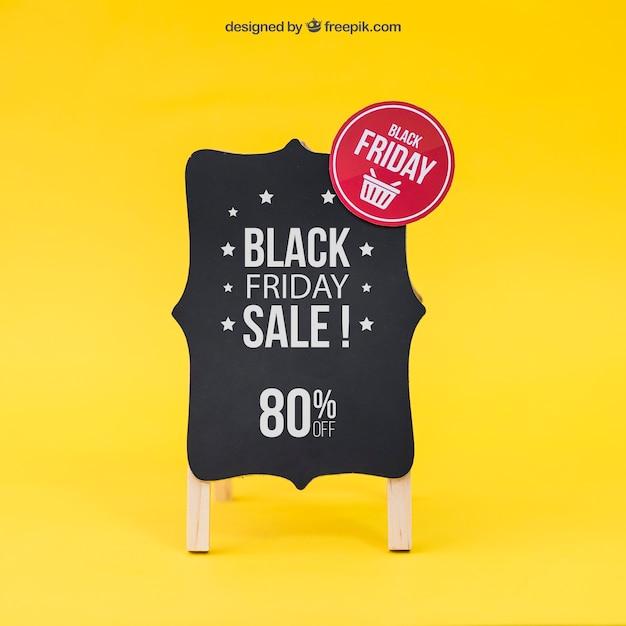 Zwarte vrijdag mockup met bord Gratis Psd
