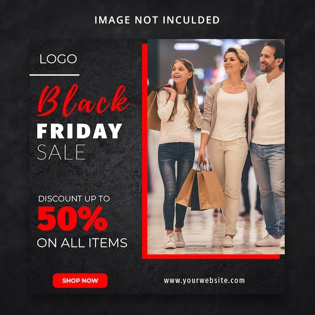 Zwarte vrijdag mode verkoop korting sociale media sjabloon Premium Psd