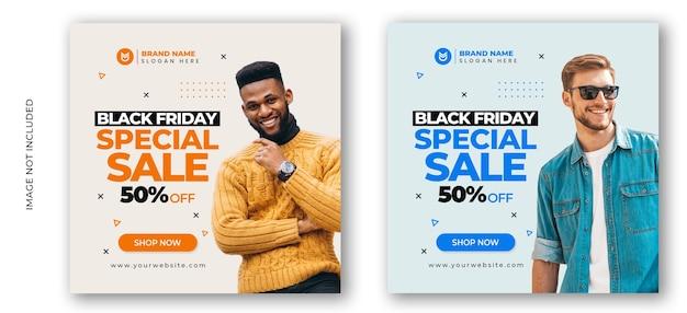 Zwarte vrijdag mode verkoop sociale media post sjabloon voor spandoek Premium Psd