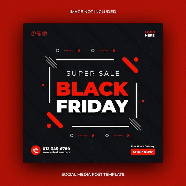 Zwarte vrijdag sociale media post sjabloon voor spandoek Premium Psd
