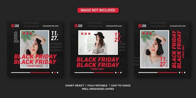 Zwarte vrijdag sociale media sjabloon voor spandoek Premium Psd
