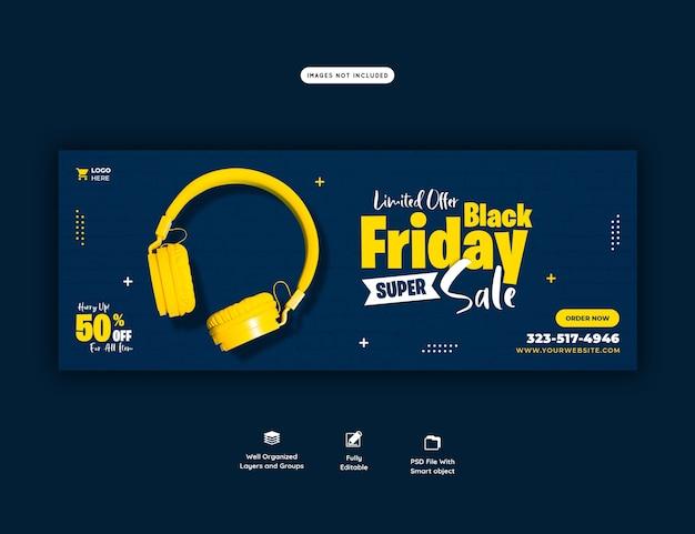 Zwarte vrijdag super verkoop facebook omslagsjabloon voor spandoek Gratis Psd
