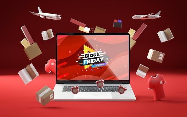 Zwarte vrijdag tech verkoop rode achtergrond Gratis Psd