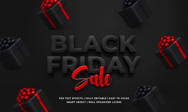 Zwarte vrijdag verkoop 3d tekst stijl effect sjabloon Premium Psd