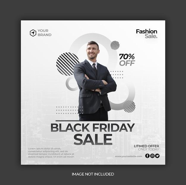 Zwarte vrijdag verkoop sociale media instagram sjabloon voor spandoek of vierkante flyer Premium Psd