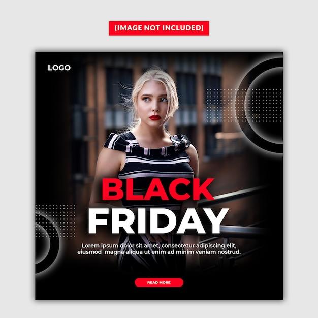 Zwarte vrijdag verkoop sociale media postsjabloon Premium Psd
