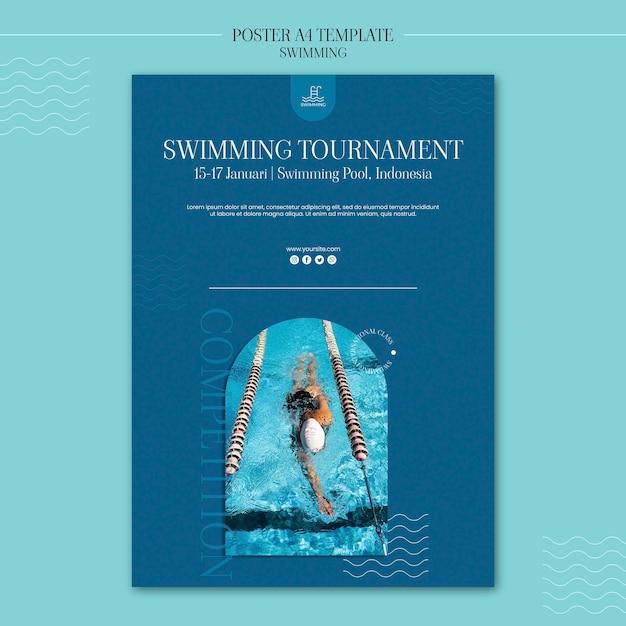 Zwemmen poster sjabloon met foto Gratis Psd