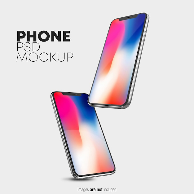 Zwevende iphone x psd-mockup Premium Psd