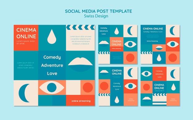 Zwitserse ontwerpset voor instagram-berichten Gratis Psd