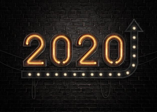 2020 Bonne Année Enseigne Au Néon PSD Premium