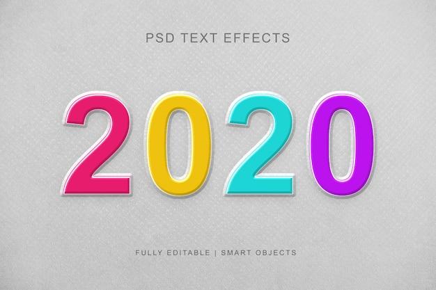 2020 coloré effet de texte de style de couche 3d PSD Premium