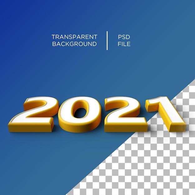2021 Année Numéro 3d PSD Premium