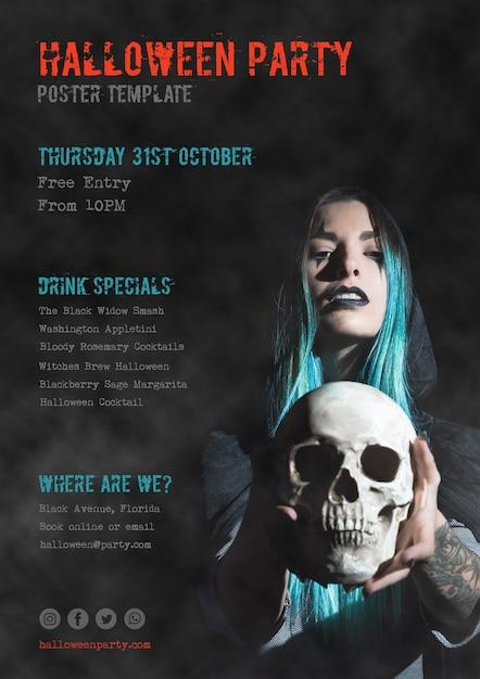 31 octobre affiche de fête d'halloween avec une fille tenant un crâne Psd gratuit