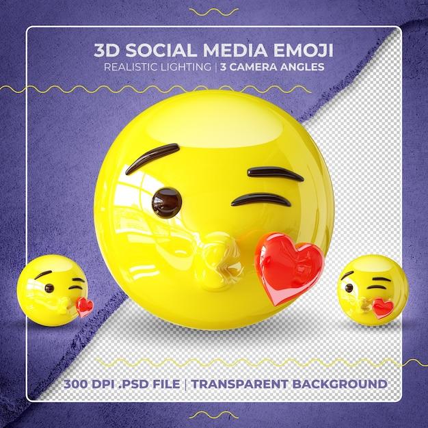 3d, Baisers, Emoji, Isolé PSD Premium