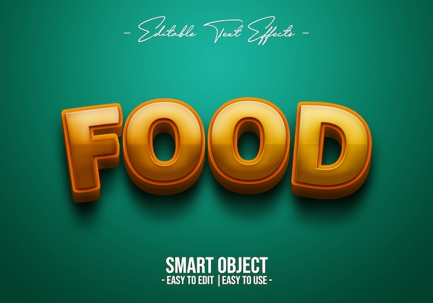 3d-food-text-style-effect PSD Premium