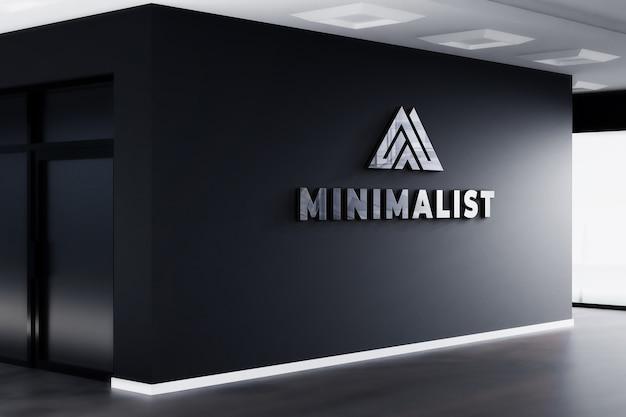 3d, Logo, Maquette, Réaliste, Signe, Bureau, Mur Noir PSD Premium