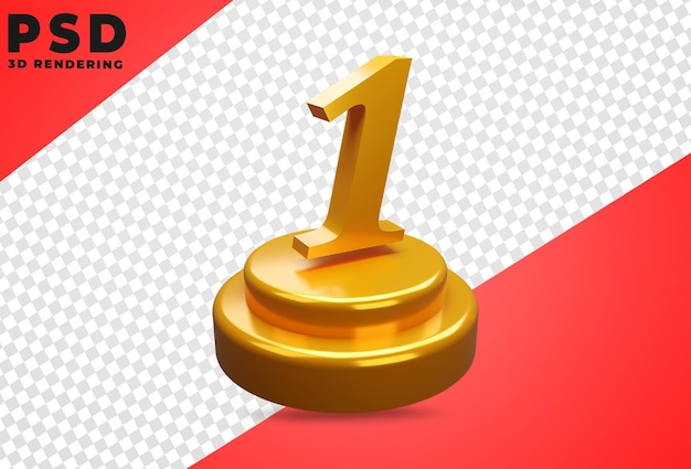 3d Numéro 1 Tourné Conception Isolée PSD Premium