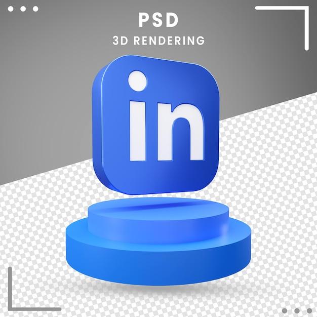 3d, Rotation, Logo, Icône, Linkedln PSD Premium