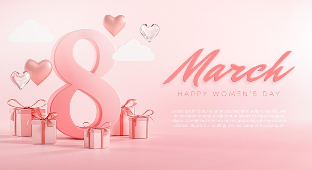 8 Mars Bannière De Coeur D'amour Pour La Journée De La Femme Heureuse PSD Premium