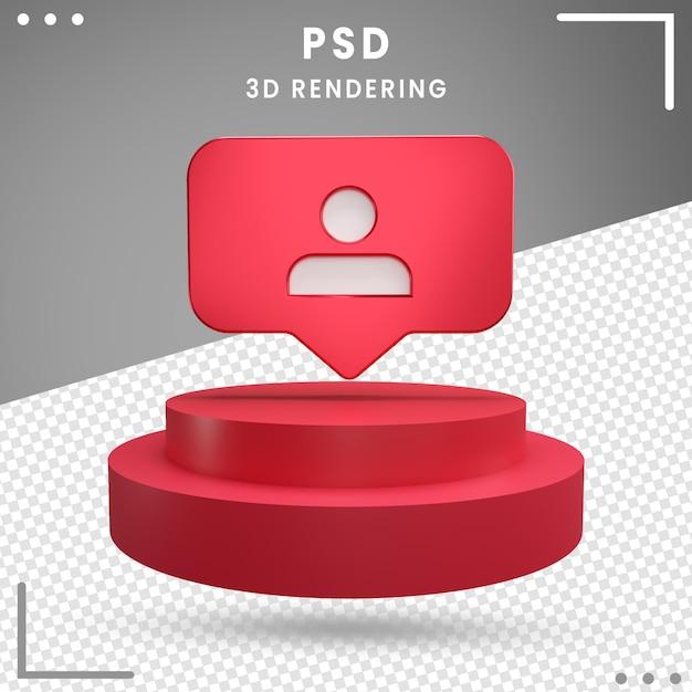 Abonnés Du Logo Rotatif 3d Rouge Instagram PSD Premium