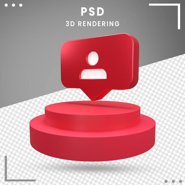 Abonnés Du Logo Tourné En 3d Instagram PSD Premium