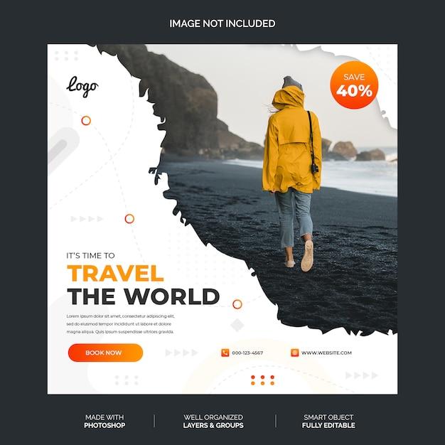 Abstrait Modèle De Instagram De Médias Sociaux Blanc Et Orange Premium PSD Premium