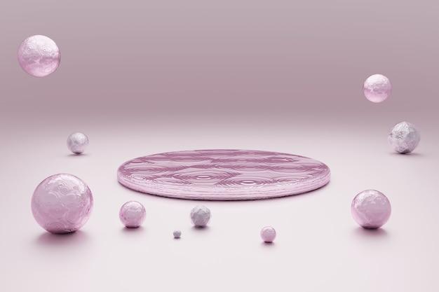 Abstrait Rose Pastel Avec Podium Rond PSD Premium