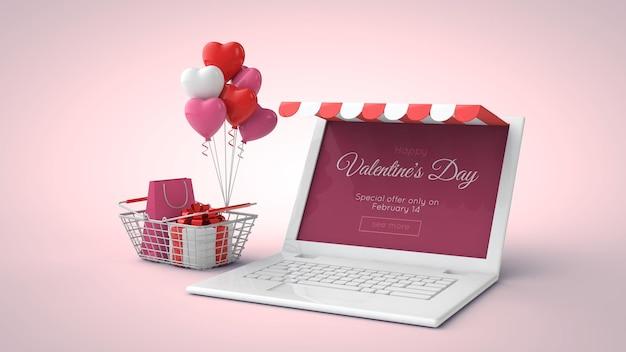 Achats En Ligne De La Saint-valentin Et Maquette De Vente En Illustration 3d PSD Premium