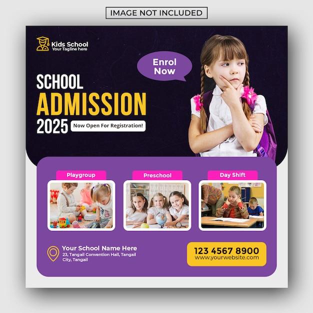 Admission à L'éducation Scolaire Pour Les Enfants Publication De Médias Sociaux Et Bannière Web PSD Premium