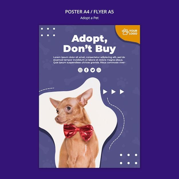 Adoptez Un Modèle D'affiche Pour Animaux De Compagnie Psd gratuit