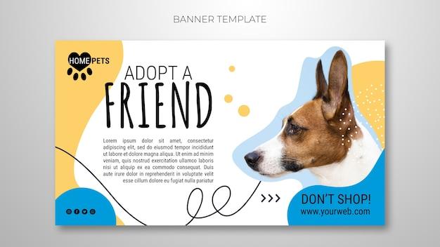 Adoptez Un Modèle De Bannière Pour Animaux De Compagnie Avec Photo De Chien Psd gratuit