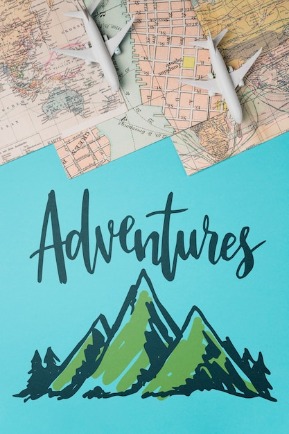 Adventures, citation de lettres de motivation pour le concept de voyage de vacances Psd gratuit