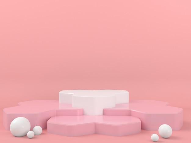 Affichage De Podium Blanc De Forme Géométrique Dans La Maquette De Fond Rose Pastel PSD Premium