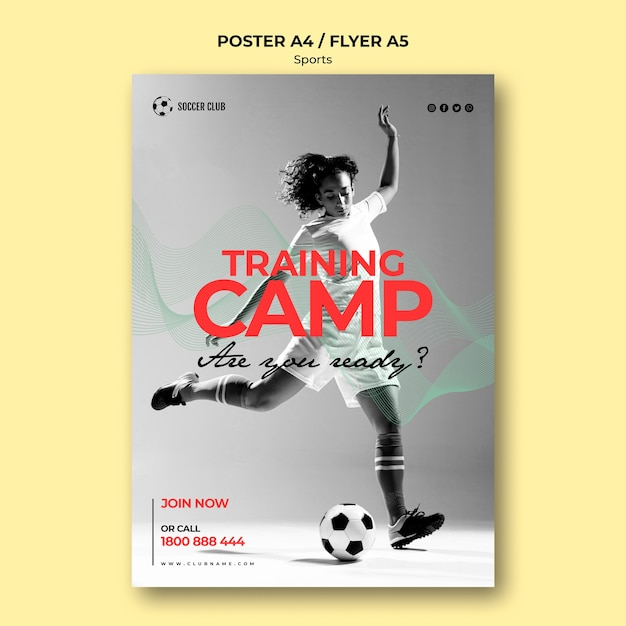 Affiche Du Camp D'entraînement Du Club De Football Psd gratuit