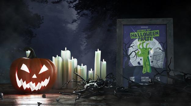 Affiche du film d'horreur avec des bougies et de la citrouille Psd gratuit