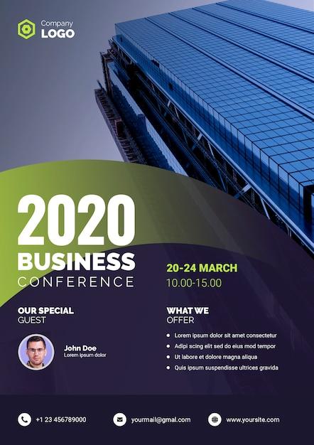 Affiche d'entreprise de la conférence d'affaires 2020 Psd gratuit