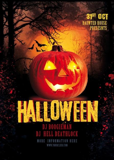 Affiche fête halloween PSD Premium