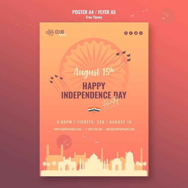 Affiche De La Fête De L'indépendance Heureuse Psd gratuit