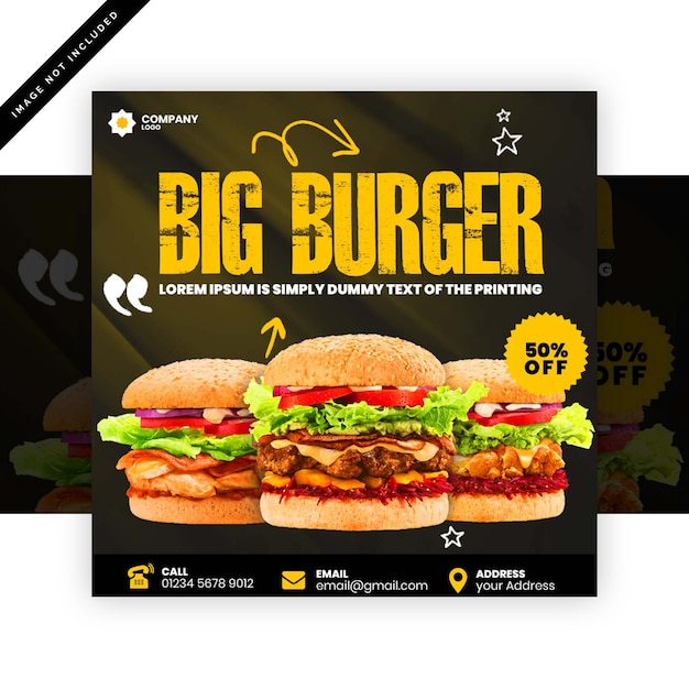 Affiche de hamburger PSD Premium